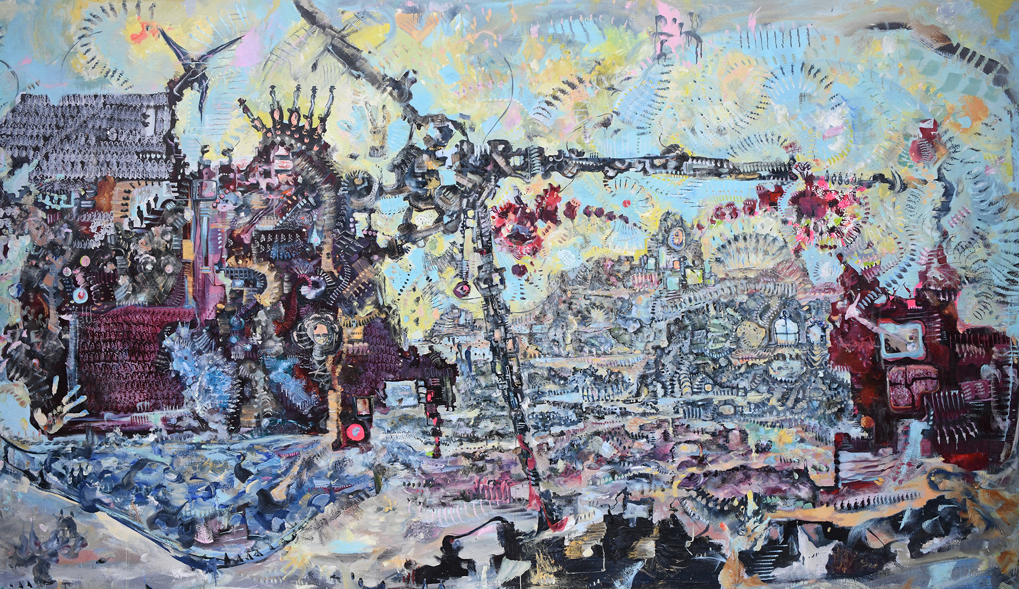 [fig 1] James Yakimicki , Manhattan Projection (Prentis Hall) , 2010. Oil on canvas, 144 x 86 inches.