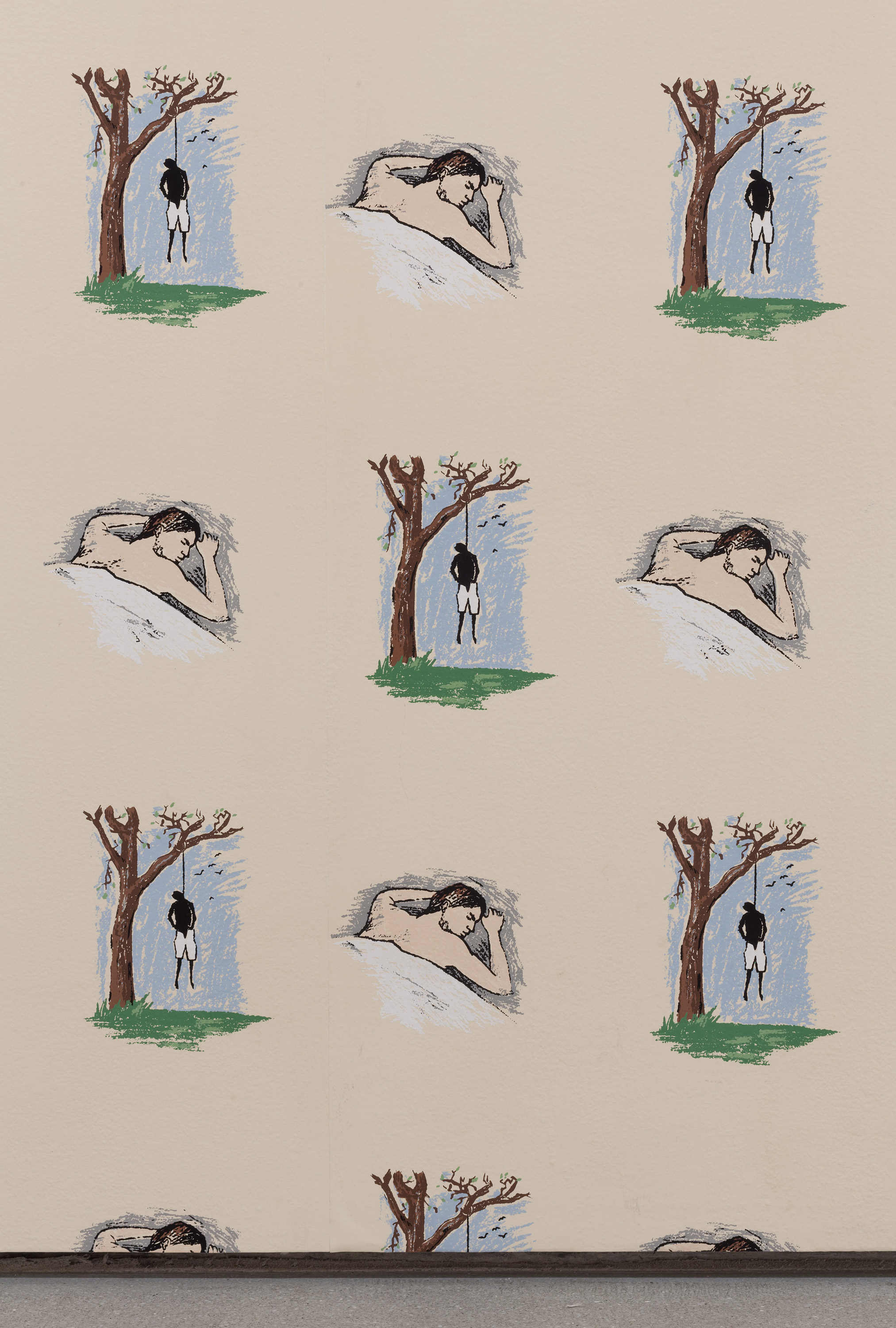 Robert Gober,  Hanging Man/Sleeping Man , 1989. Hand-printed silkscreen on paper. Photo credit: The Museum of Modern Art, Department of Imaging and Visual Resources, Thomas Griesel. Courtesy of the artist.