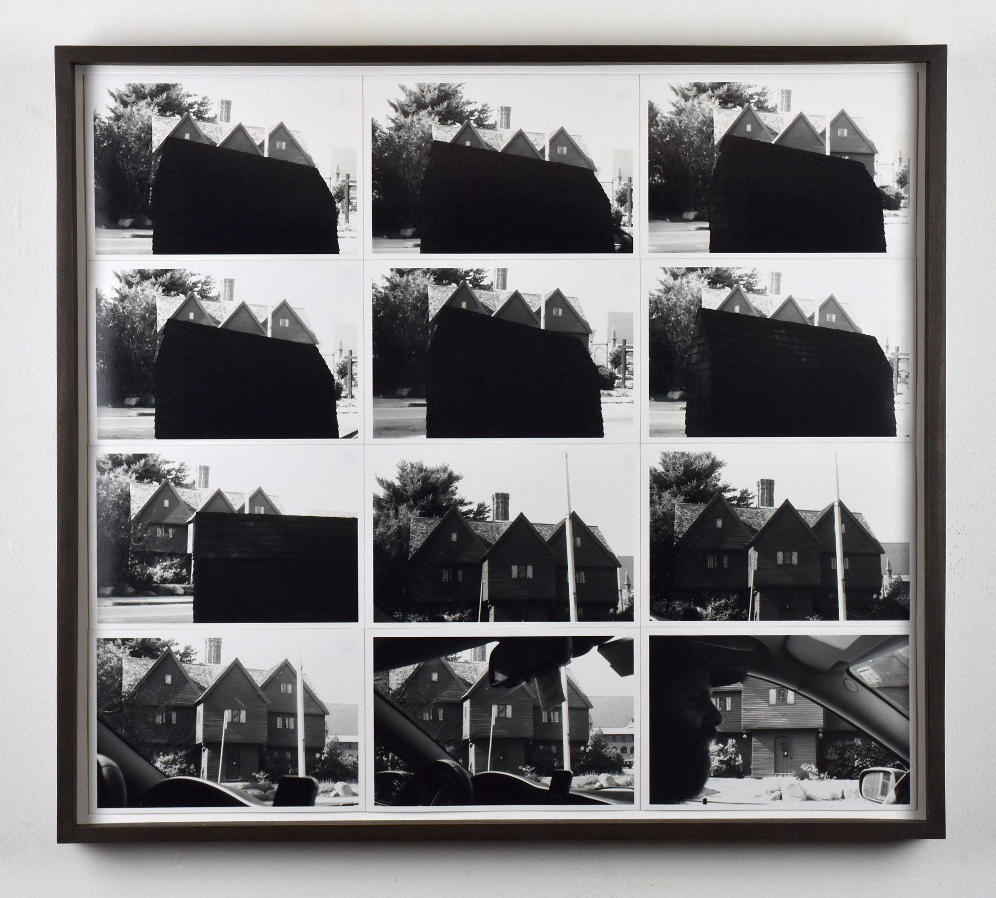 Cal Siegel,  Witch house drive by , 2017. Twelve gelatin silver prints, 12 x 18 inches.