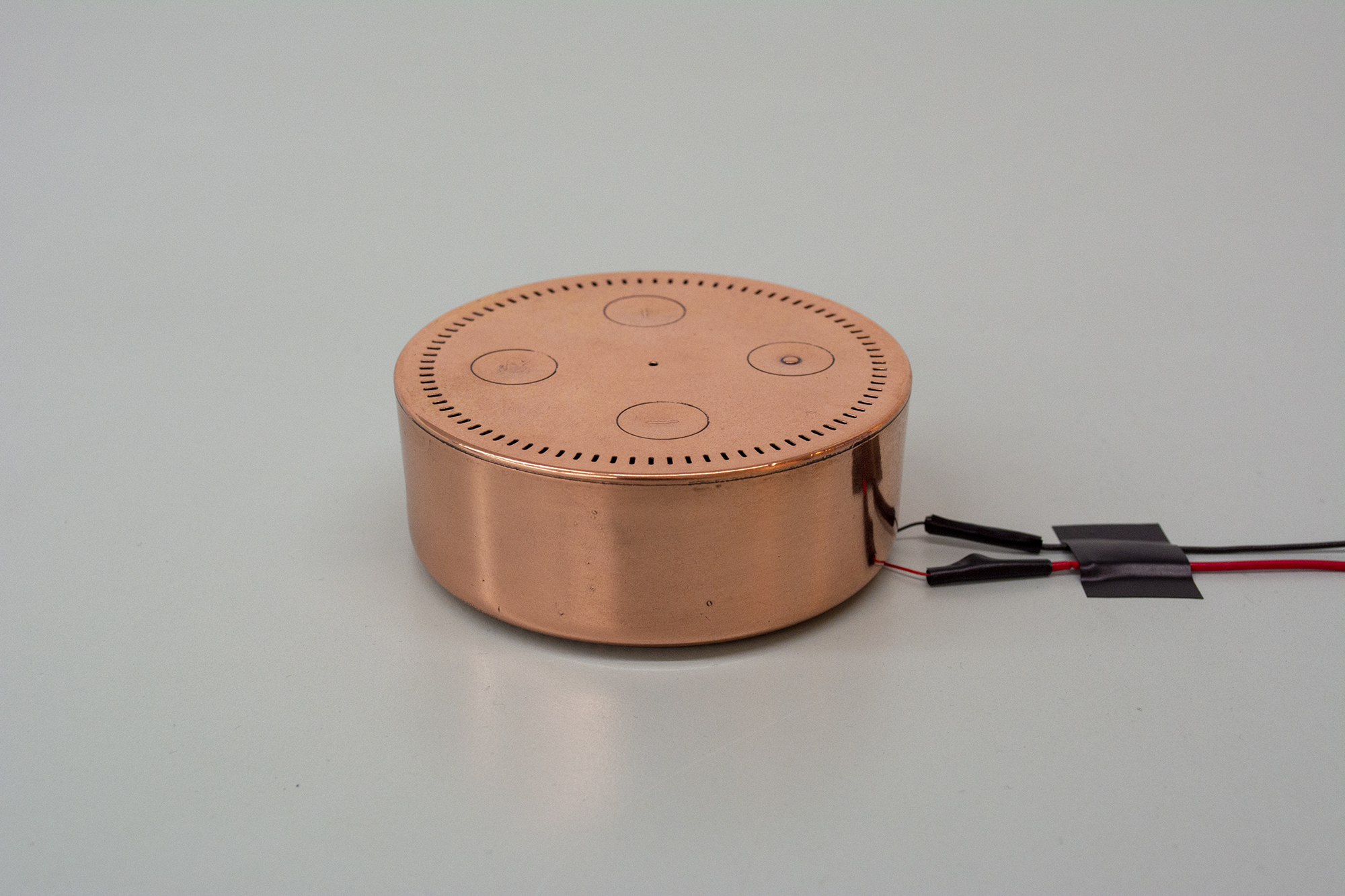 Amanda Turner Pohan  I'm best at answering questions  2019 Electroplated bronze Amazon® Alexa Echo Dot, vibration sensor, Arduino, Max/MSP software, laptop, speaker, locking steel electronics box 3.25 x 1.5 inches (Alexa Echo Dot), 19 x 14 x 13 inches (electronics box)