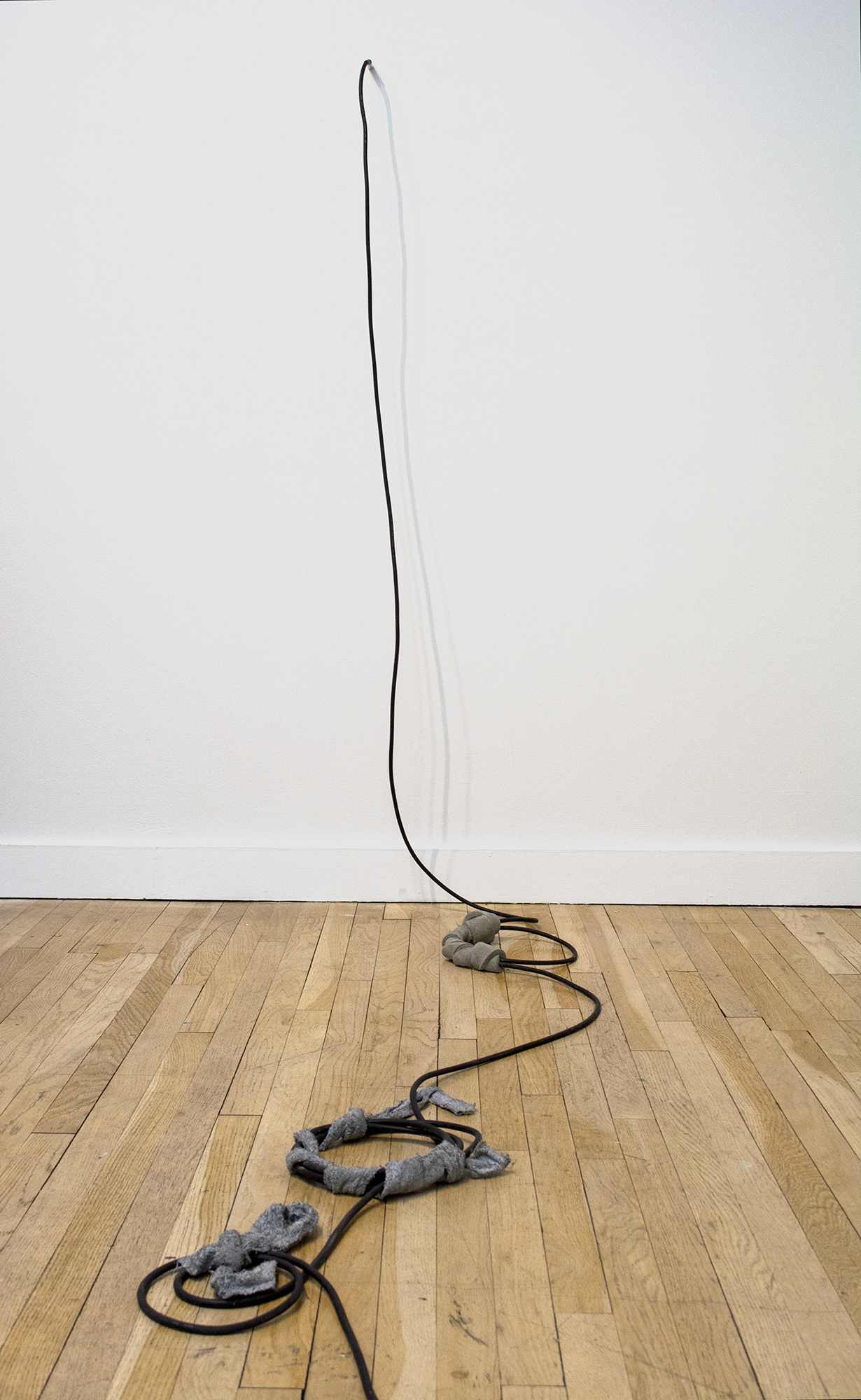 Nikita Gale  -PATCHING  2019 TS audio cable, concrete, steel, polyurethane foam, terrycloth Dimensions variable