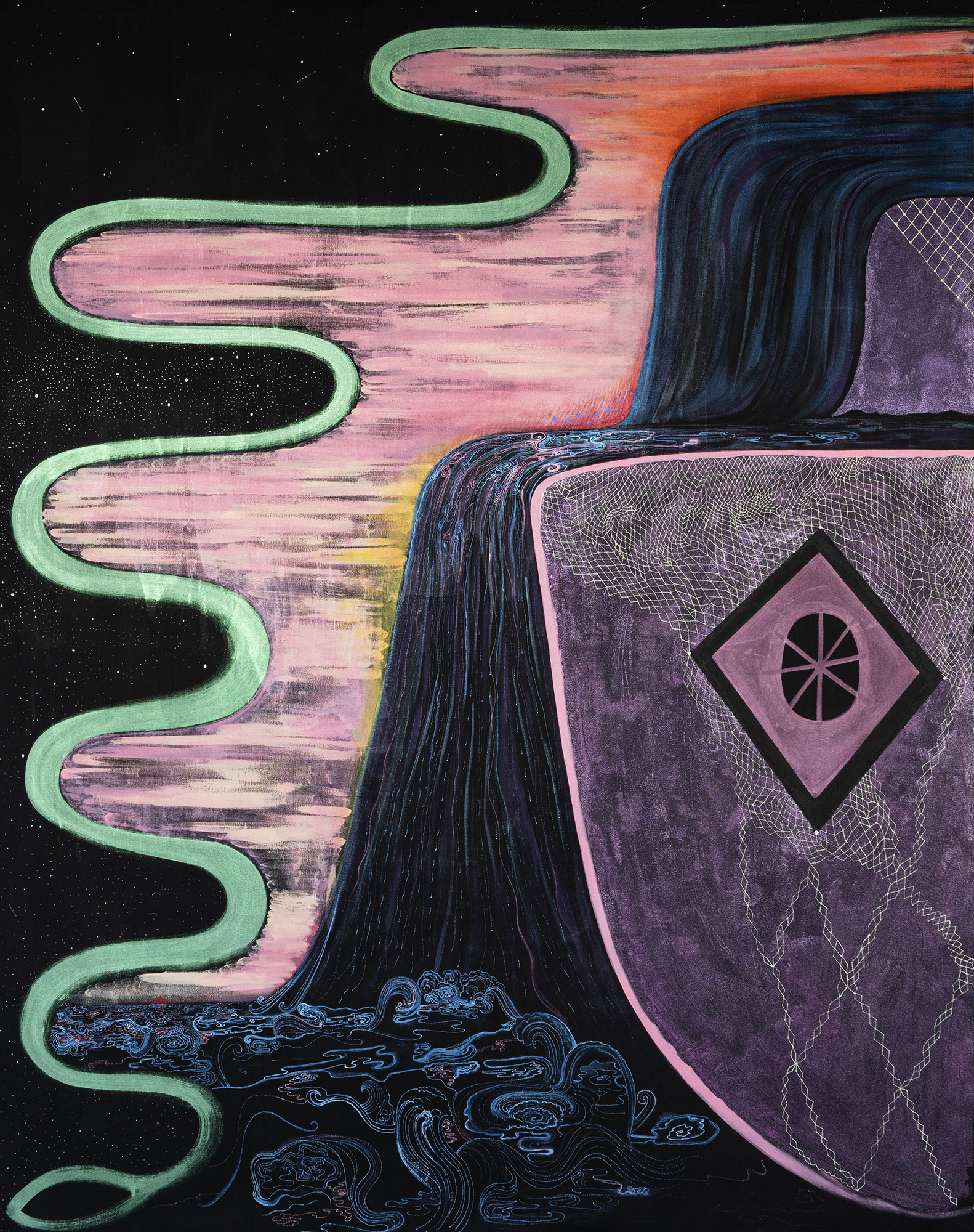In the water is a wild happiness,  2019   Acrylic, glass beads, and mica on canvas 68 x 84 inches  [Image description: Central to this image is a cascading black waterfall with intricate blue and purple lines denoting the movement of water. A dark purple cliff shape to the right is decorated with a white web and a diamond. To the left is an undulating pink and orange sunset outlined in light green; beyond this is a black background, glittering with silver and white dots.]