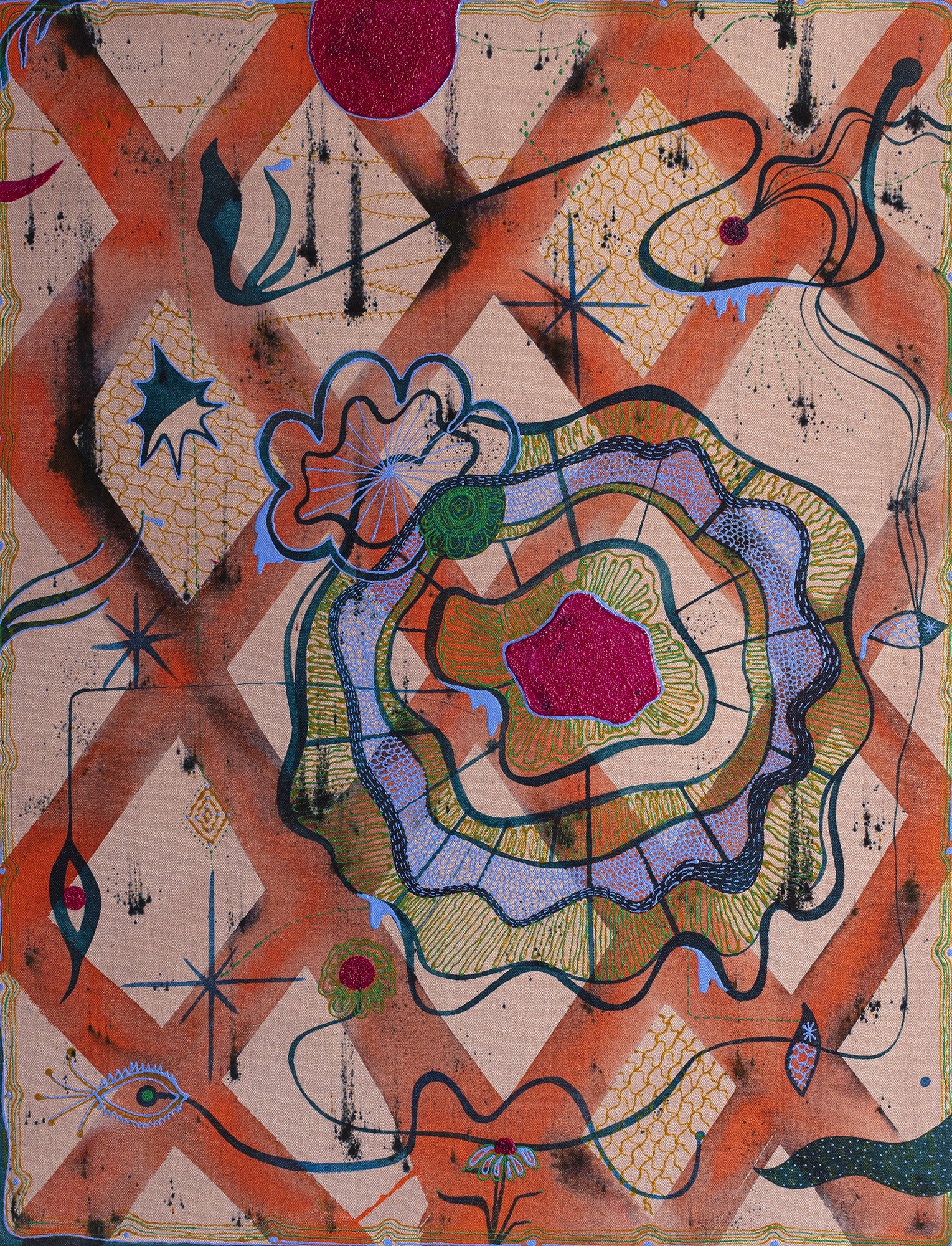 A Web that Warns  2019 Acrylic on canvas 20 x 26 inches  [Image description: Thick orange lines crisscross to create a diamond pattern on a tan colored background. On top of this pattern and slightly off-center, a purple, black, green, and gold web with a red center is painted. Other decorative symbols including star shapes, flowers, and eyes dance across the surface of the canvas.]