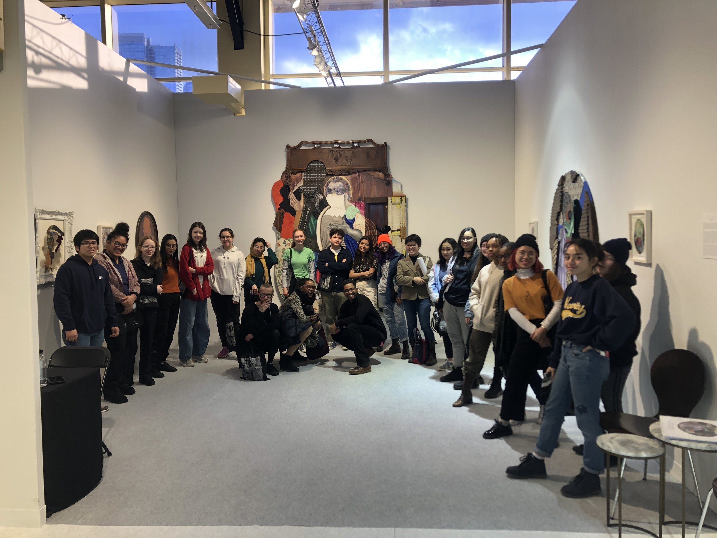 Brian Fee leads the CUE Teen Collective on a tour of The Armory Show, where the teens got the chance to speak to artists and gallerists and explore the art fair.