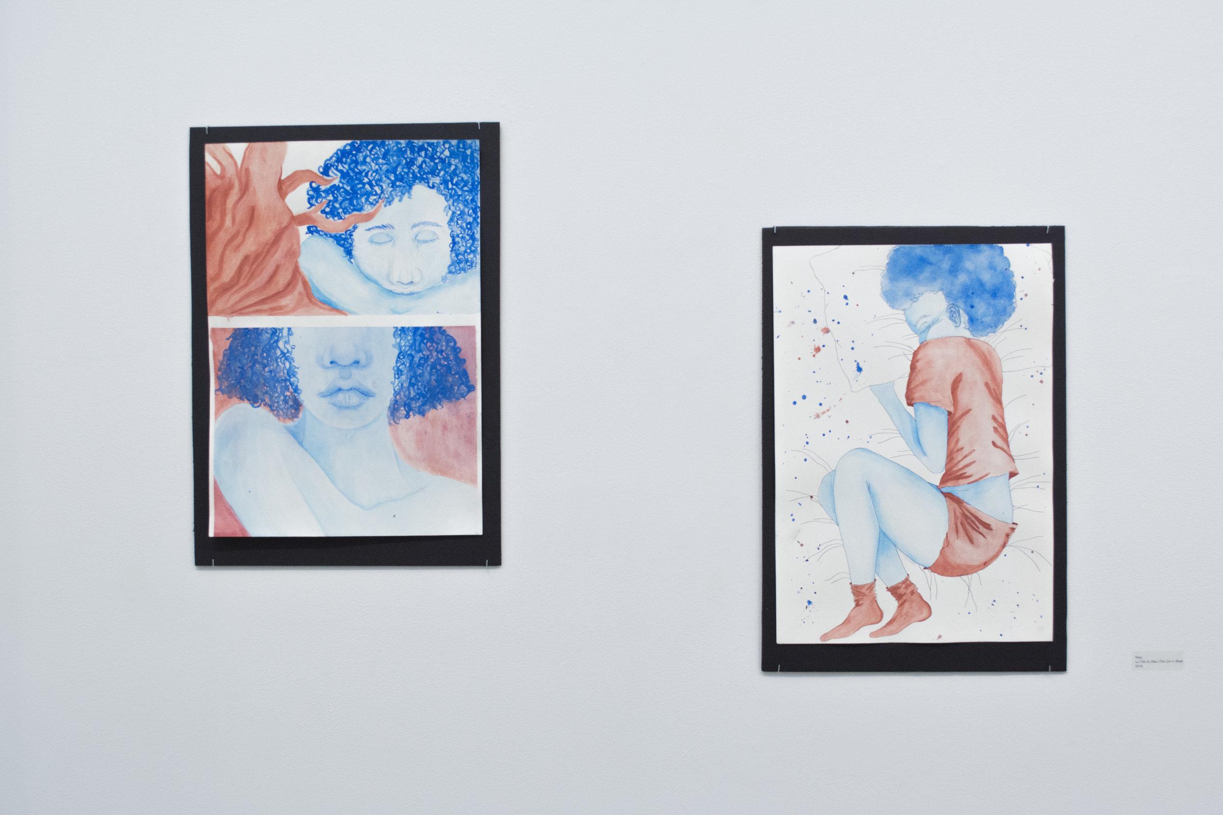 Mezi  La Fille En Bleu (The Girl in Blue) , 2018 Watercolor and colored pencil on Grana Fina cold pressed 100% cotton watercolor paper