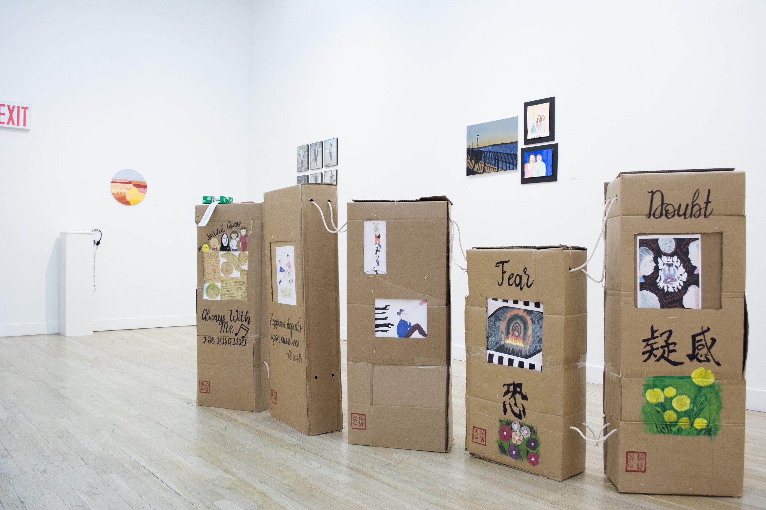 Petvy Li  Emotional Boxes , 2018 Acrylic on cardboard, drawing, mixed media