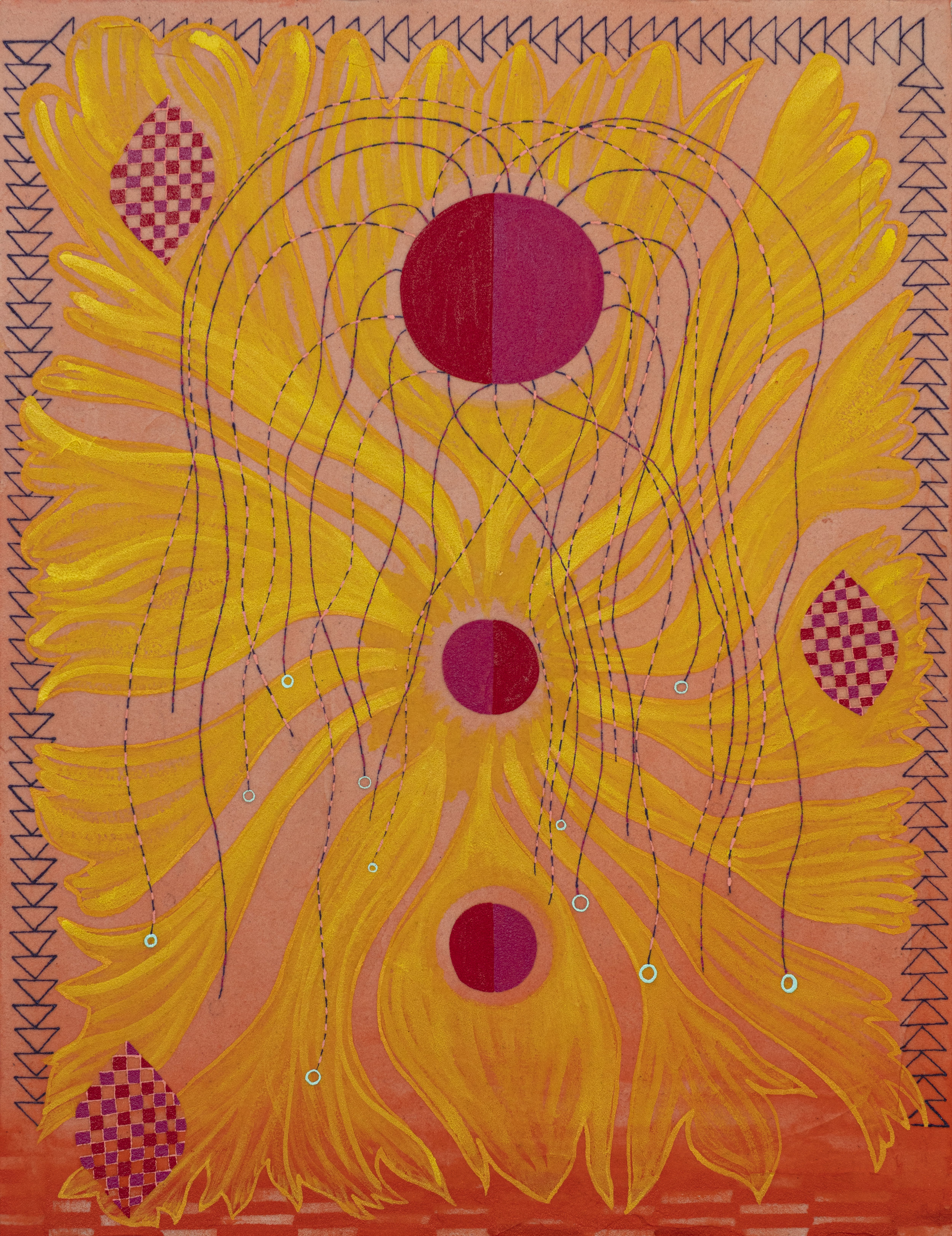 Three red circles going down the middle of the orange canvas; the center circle has yellow petal-like forms that reach out to the edge of the canvas. The artist painted threads coming from the uppermost circle which is bigger than the other two circles below it. Three leaves that are checkered using the background color and two shades of red are spread throughout the canvas.
