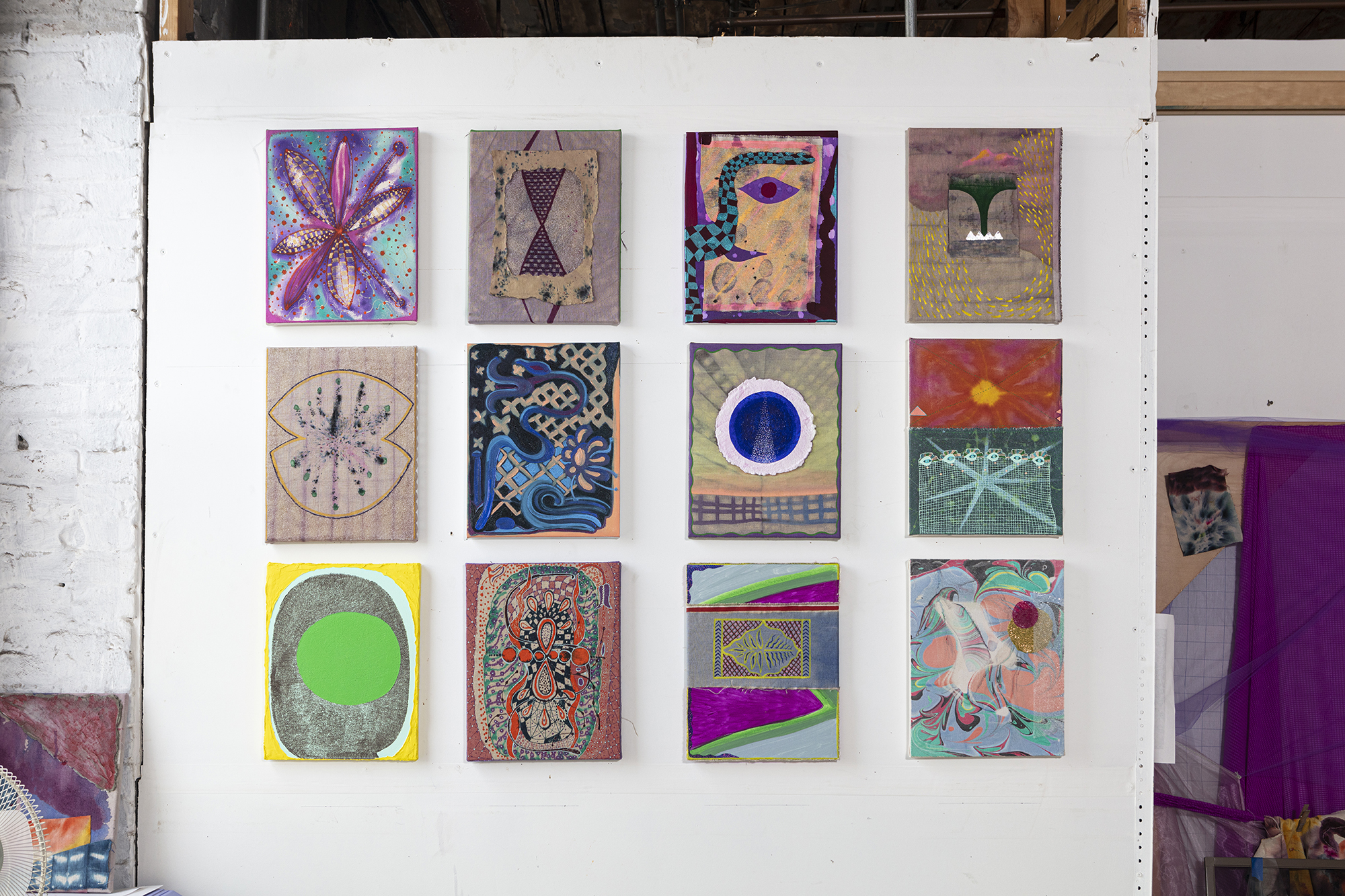 Natessa Amin,  Ceaseless Spectacle , 2017-2019. Mixed media on canvas and linen, series of 12, 11 x 14 inches each.