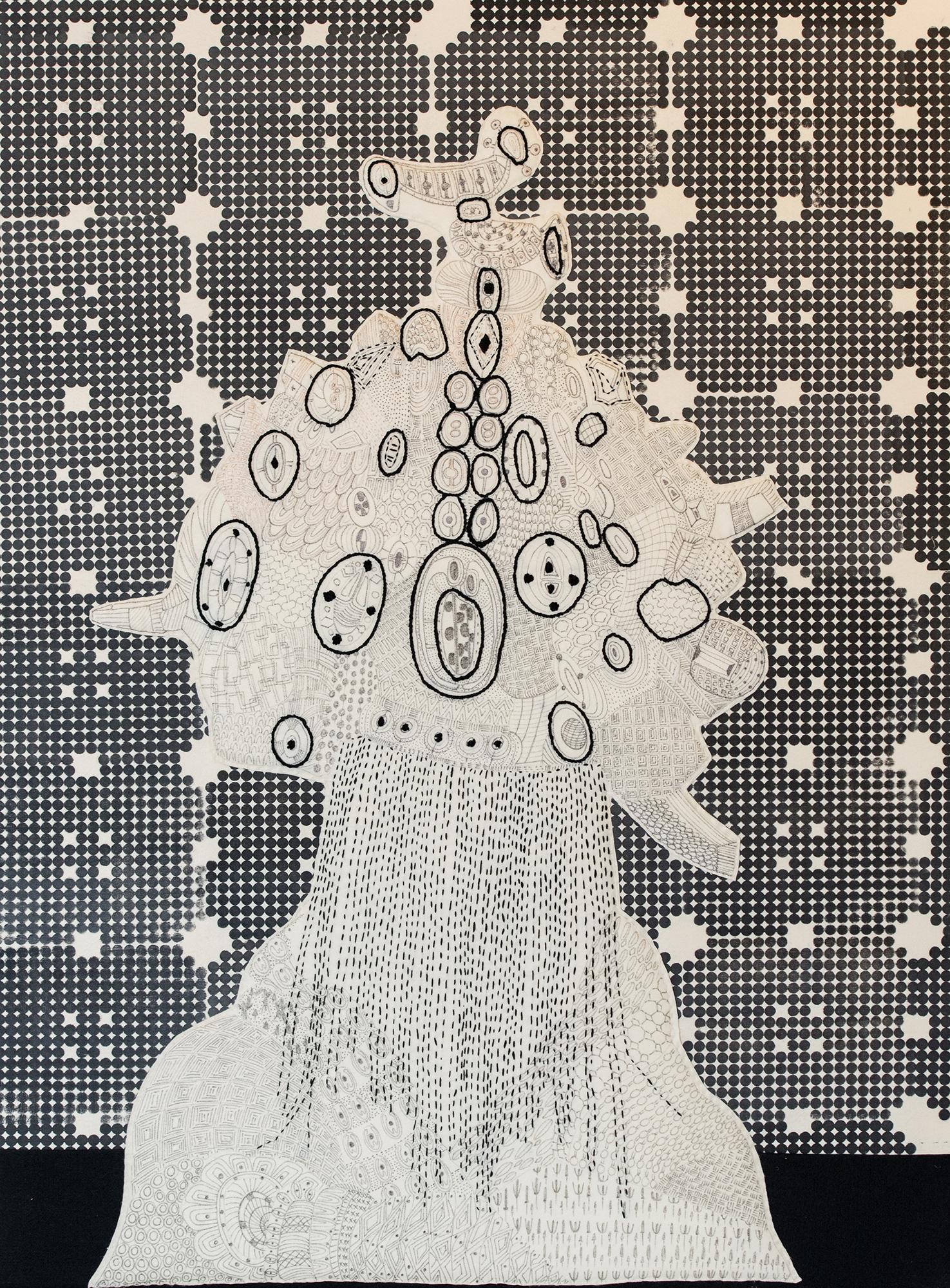 Sarah Amos,  Doves Eye , 2019. Collagraph and thread on felt 84 x 66 inches.