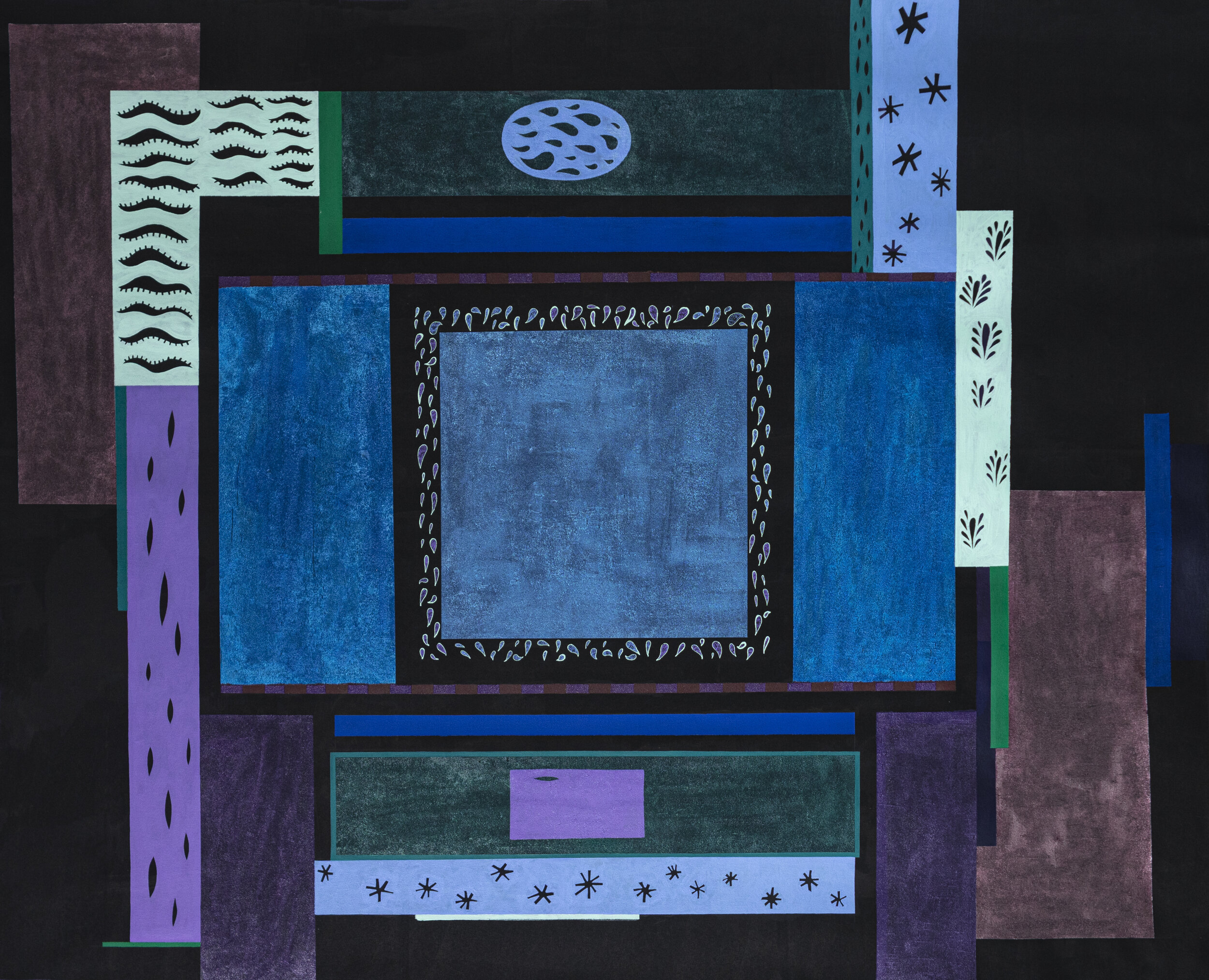 Hinge  2019 Acrylic and glass beads on canvas 65 x 81 inches  [Image description: A large blue square in the middle of a black canvas is surrounded by rectangles of varying sizes in shades of blue, teal, purple, green, and brown, some of which have decorative patterns inside of them.]