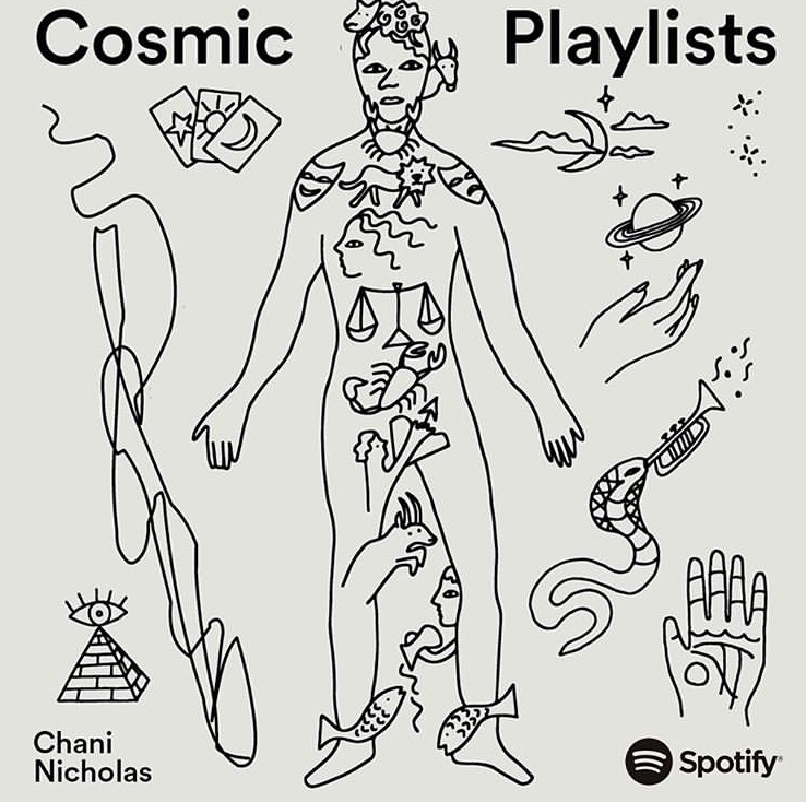 Illustrations for horoscope playlists on Spotify, curated by astrologer Chani Nicholas