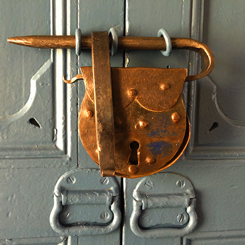 We use beautiful, sturdy antique locks on our rooms