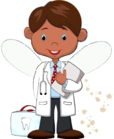 Dr. Say-ahh-fee, the good doctor who does his best to keep the tooth fairies happy and healthy. More tooth fairy pictures and letters at http://lettersfromatoothfairy.com/fairies