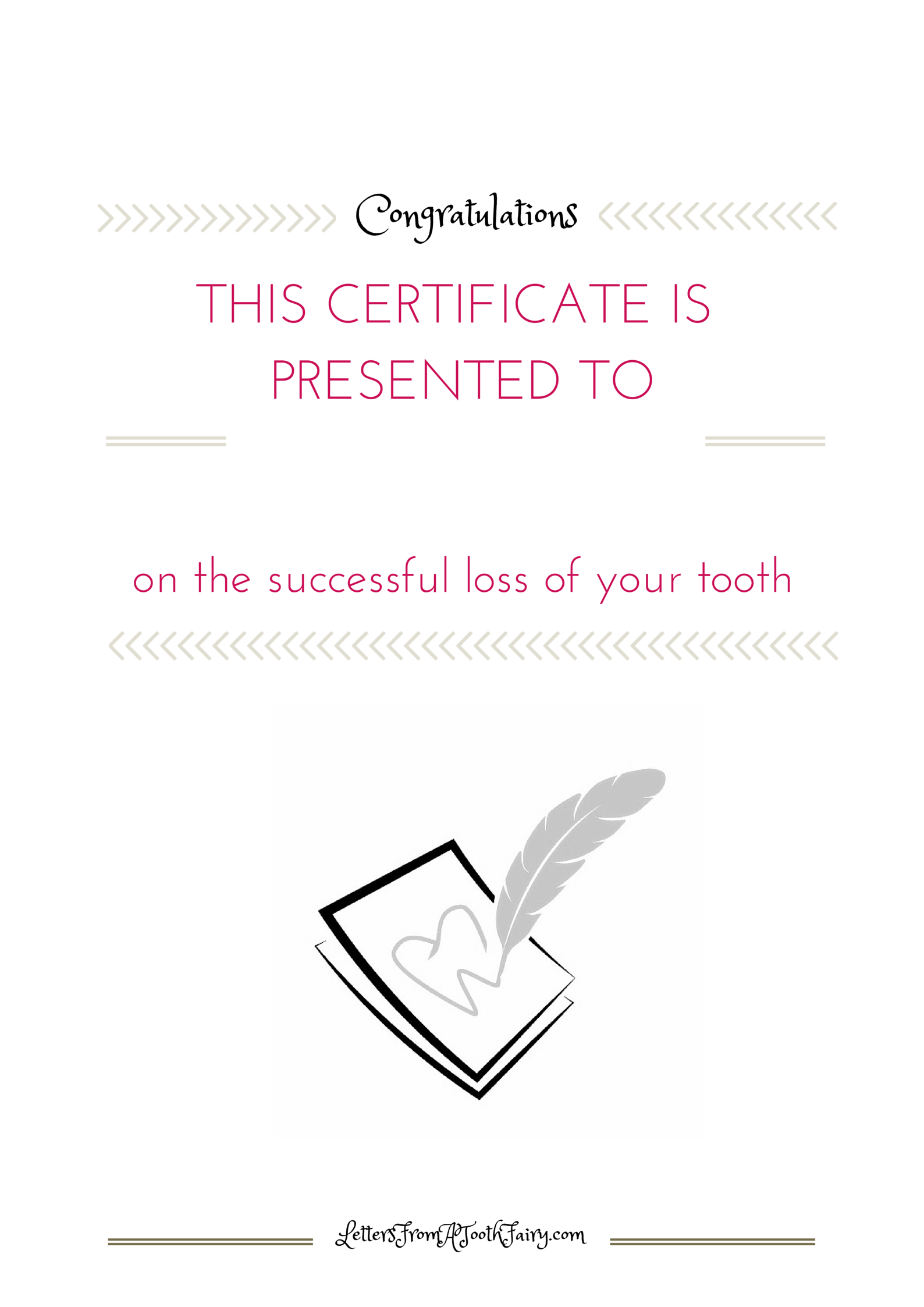 Free printable tooth fairy certificate from the tooth fairies of the Tooth Fairy Company.  lettersfromatoothfairy.com/tooth-fairy-certificate