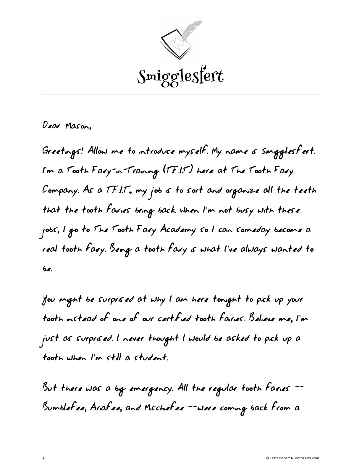 Free tooth fairy letter by Tooth-Fairy-in-Training and emotional sneezer, Smigglesfert.  lettersfromatoothfairy.com/free