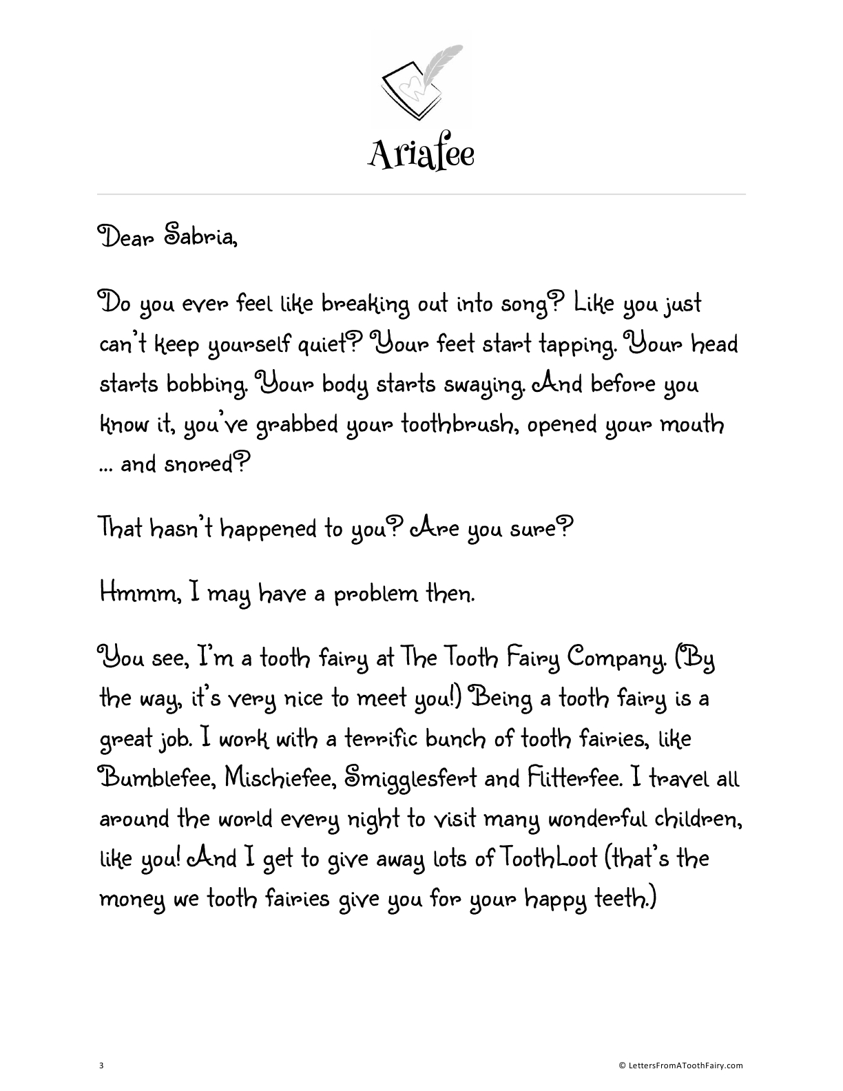 Free tooth fairy letter from the singing tooth fairy Ariafee