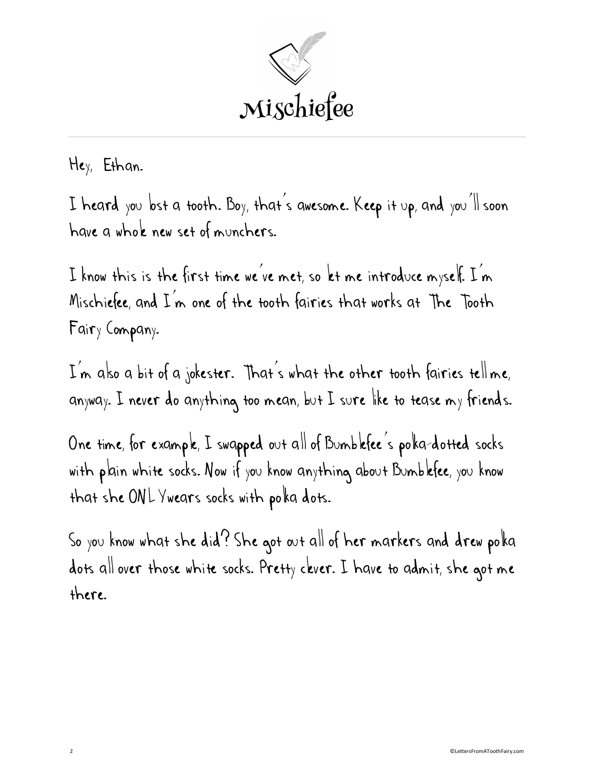 Tooth fairy letter from Tooth Fairy Mischiefee, explaining why he hid your child's ToothLoot and how to find it