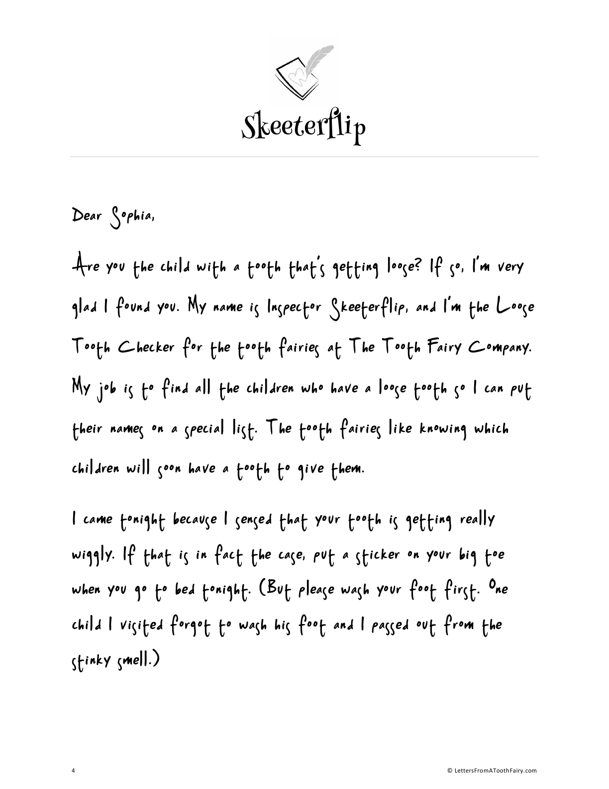 Free tooth fairy letter for the first loose tooth
