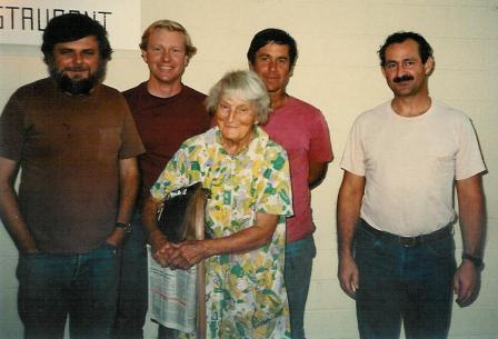 AGNES BARON with Charles Christian, Rusty Bostwick, Bob Hazard, and Sam Ervin in 1985, long after the well incident. (Margaret Magnus photo.)