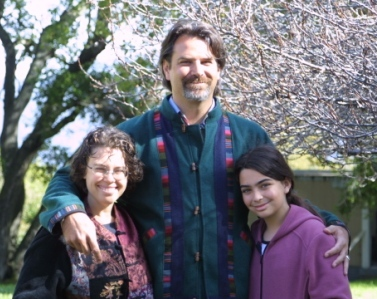 LILLY, LAURENT & ASPEN WEICHBERGER. Aspen, then 10-years-old, adapted very quickly to life on the mountain and wrote these poems to Avatar Meher Baba and Meher Mount. (Weichberger photo, 2005.)