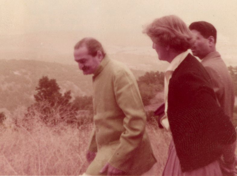 AVATAR MEHER BABA taking a tour of the Meher Mount property on August 2, 1956, with caretaker Agnes Baron and close disciple Eruch Jessawalls. Meher Baba asked about boundaries, particularly the southeast corner. (Adele Wolkin photo, 1956.)