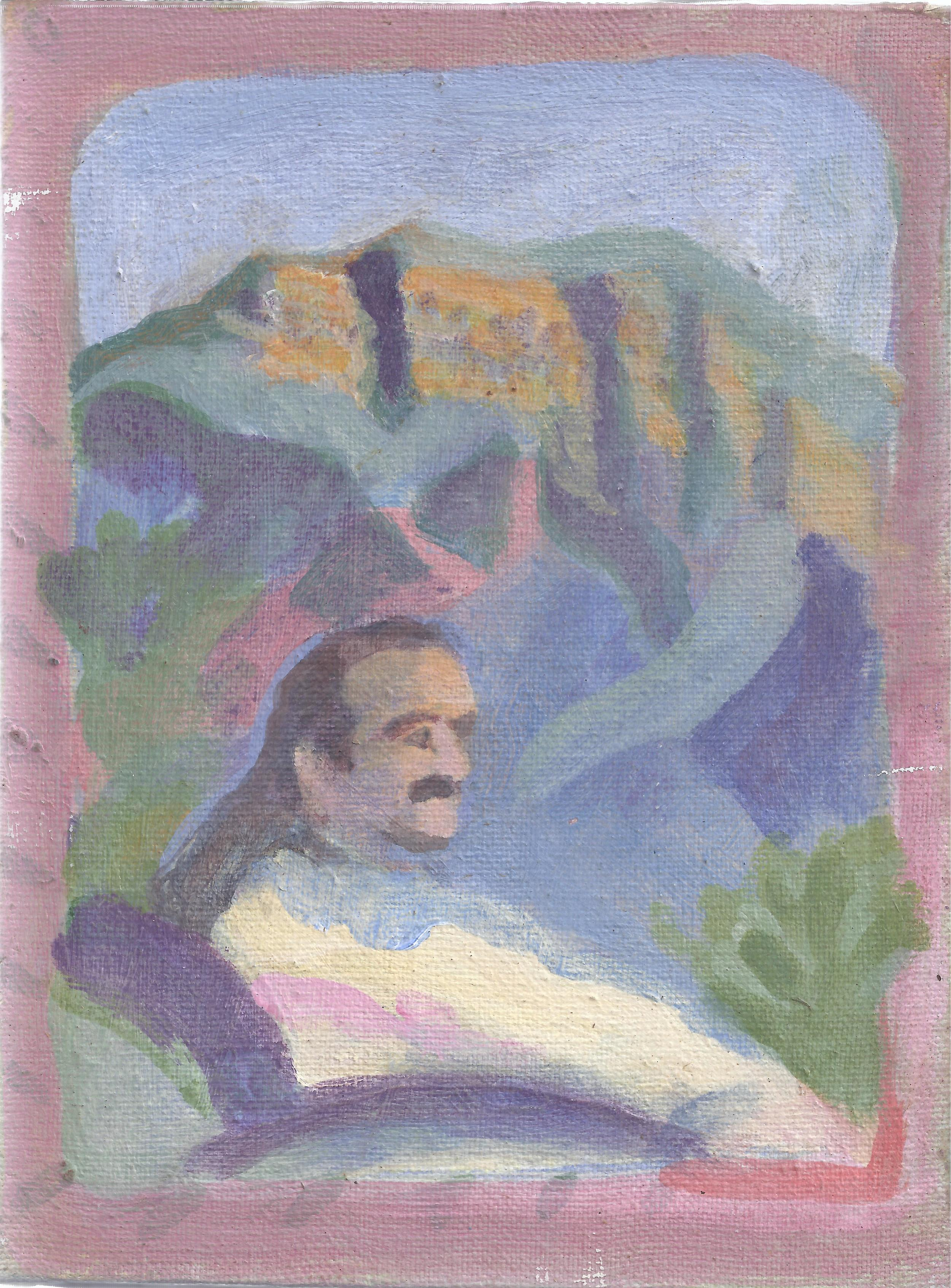 Will David Painting of Meher Baba at Meher Mount 1996.jpg