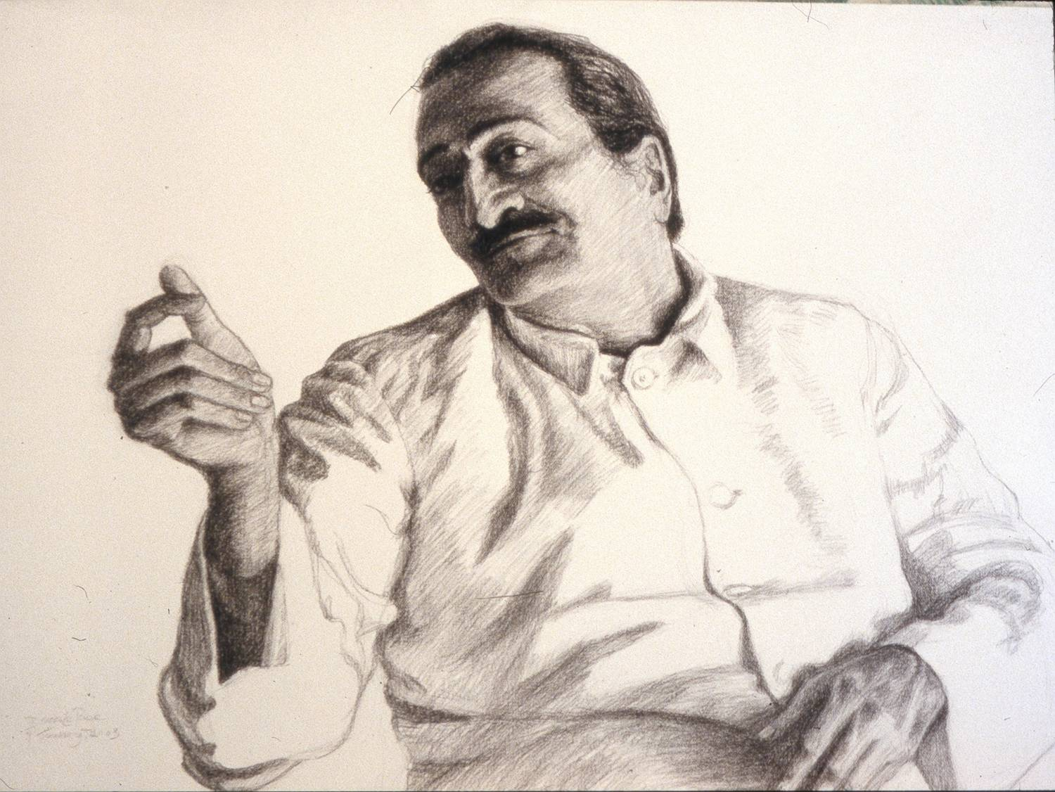 AVATAR MEHER BABA in a charcoal drawing by artist Diana Le Page.