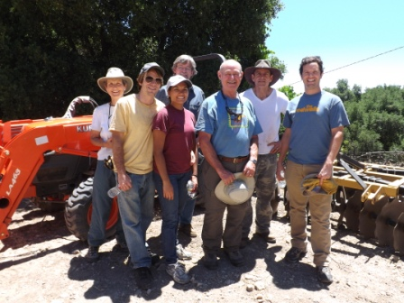 YELLOW STARTHISTLE WORK PARTY in July 2012. (Back row:) Margaret Magnus, Eric Turk, Dusttin Paren. (Front Row:) Ian Dibble, Michelle Choug, Sam Ervin, Josh McGill. Not pictured are Samantha Bridger and Leslie Bridger. (Leslie Bridger photo, 2012.)