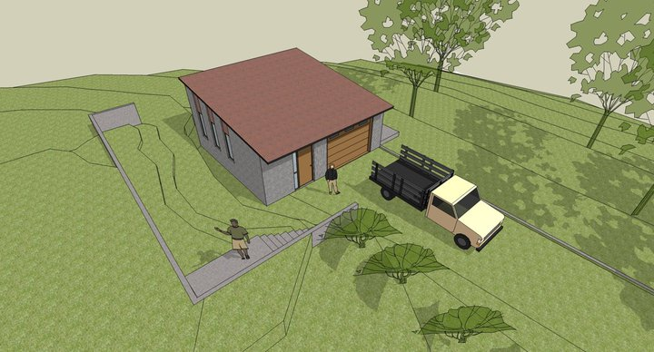 THE WORKSHOP to be built on the site of the original garage and farmhouse with concrete blocks and a steel roof. Large doors on both sides provide easy access. (Byron Pinckert conceptual drawing.)