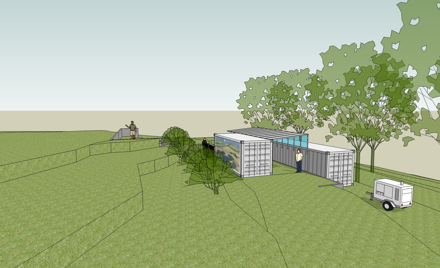 PURCHASING AND CONFIGURING two cargo containers for a garage and workshop was one interim and less costly option that was considered and then rejected. (Byron Pinckert conceptual drawing.)