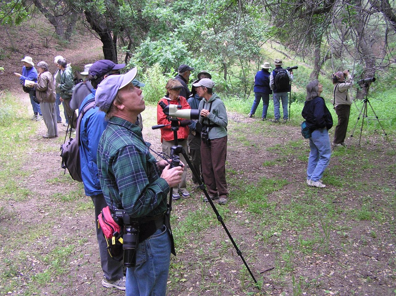 THE AUDUBON SOCIETY visits Meher Mount on April 11, 2009, to enjoy bird watching in this semi-wilderness area. (Ray Johnston photo, 2009.)
