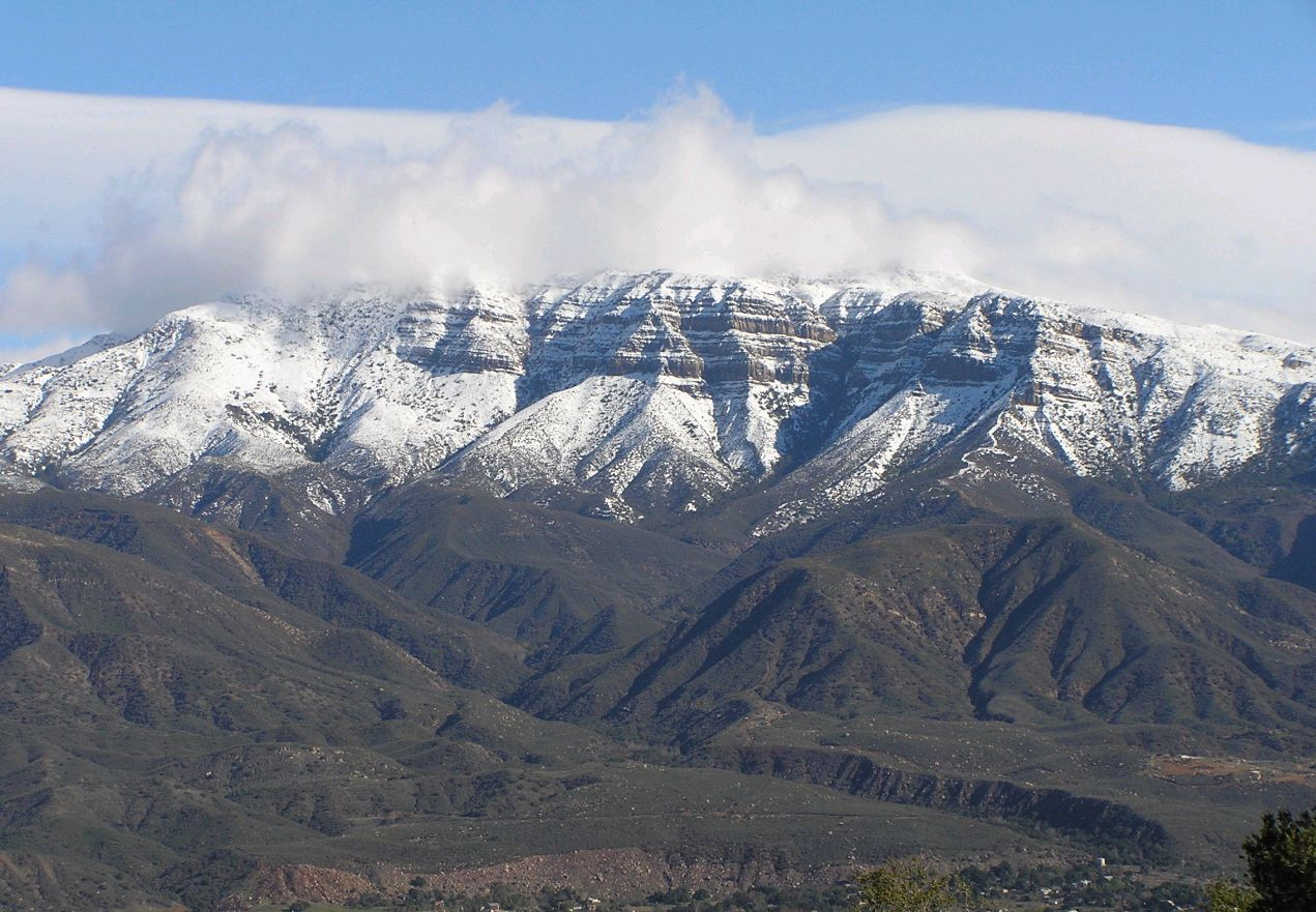 THE 6,200-FOOT TOPA TOPA BLUFFS as seen from Meher Mount after a winter storm. (Brad Spurr photo.)