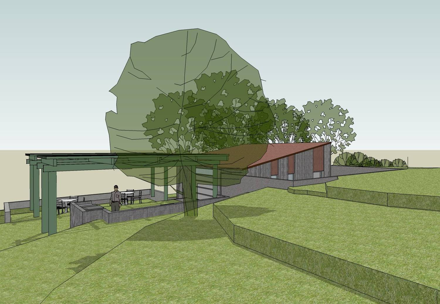 THE TOPA TOPA PATIO is adjacent to the Workshop providing an ideal spot to take advantage of the views plus the practical consideration of storage and electricity provided by the Workshop. (Byron Pinckert conceptual drawing.)