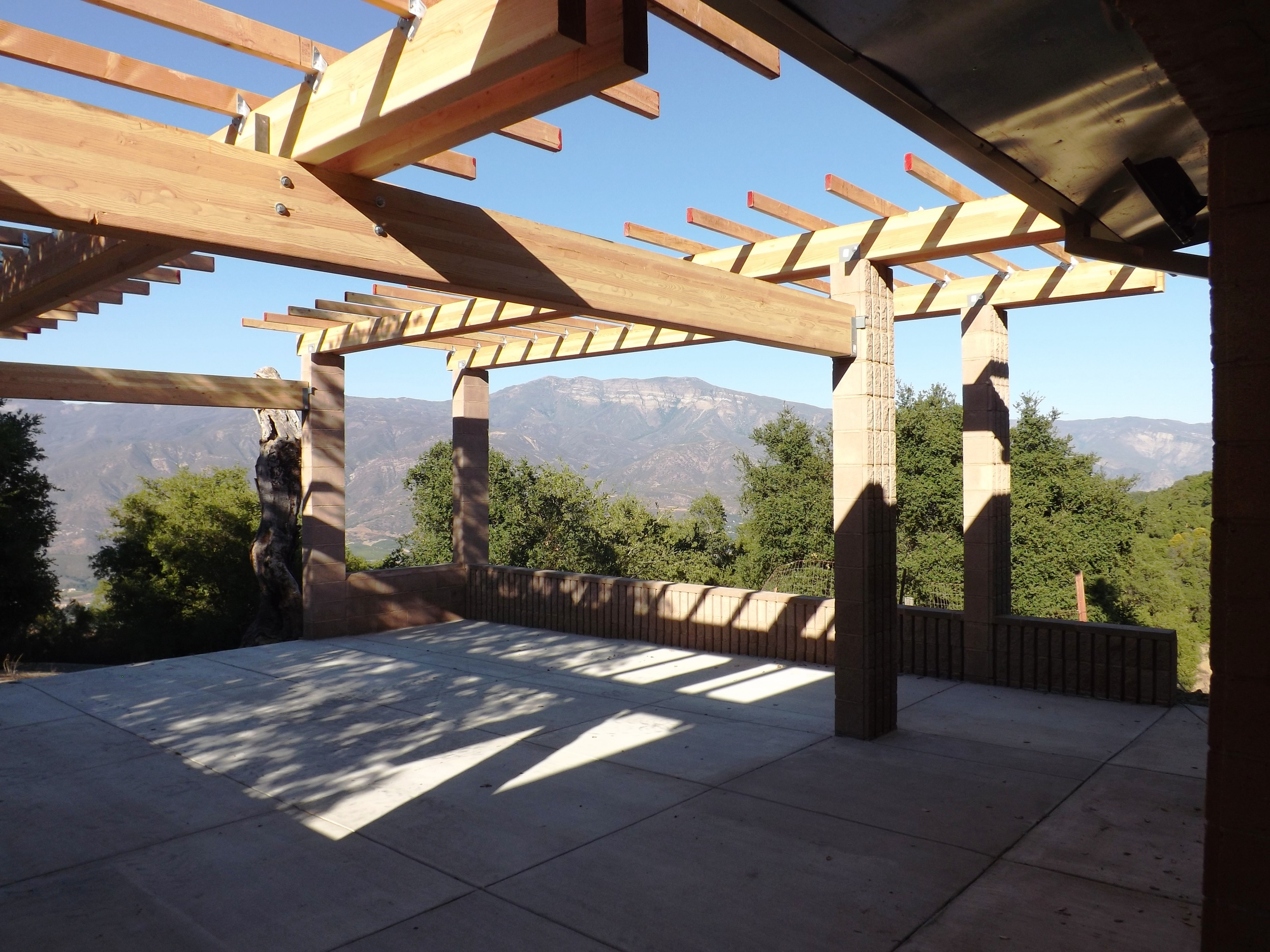 MAJOR CONSTRUCTION IS COMPLETED on the Topa Topa Patio in December 2012. The Topa Topa Bluffs are in the background. (Leslie Bridger photo, 2012.)