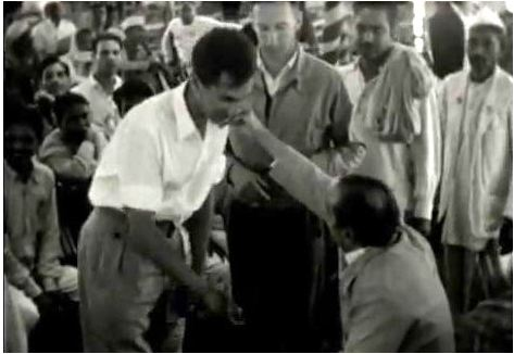 "BILL LE PAGE saying farewell to Avatar Meher Baba in 1954 after the ""Three Incredible Weeks"" gathering in Meherabad, India."