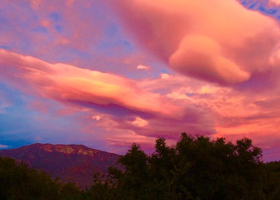 """SUNSET on Winter Solstice Eve 2014 looking to the east from Meher Mount toward the Topa Topa Bluffs. This is Ojai's famous """"pink moment"""" captured by Buzz Glasky."""