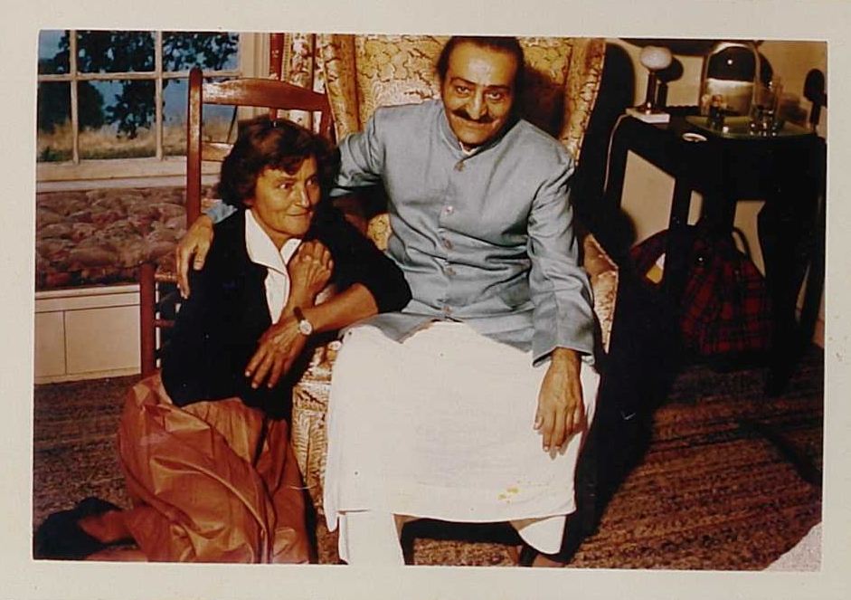AGNES BARON and Avatar Meher Baba in the guest house where Meher Baba greeted His followers on August 2, 1956.