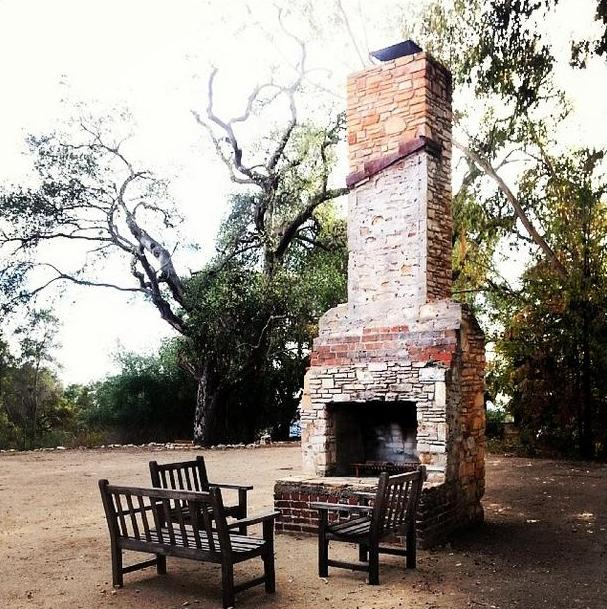 THE LAST REMAINING ARTIFACT from Avatar Meher Baba's time when is the chimney that was part of the guest house where Meher Baba met with His followers in 1956. (Stephanie Ervin photo,  Amartithi  2014.)