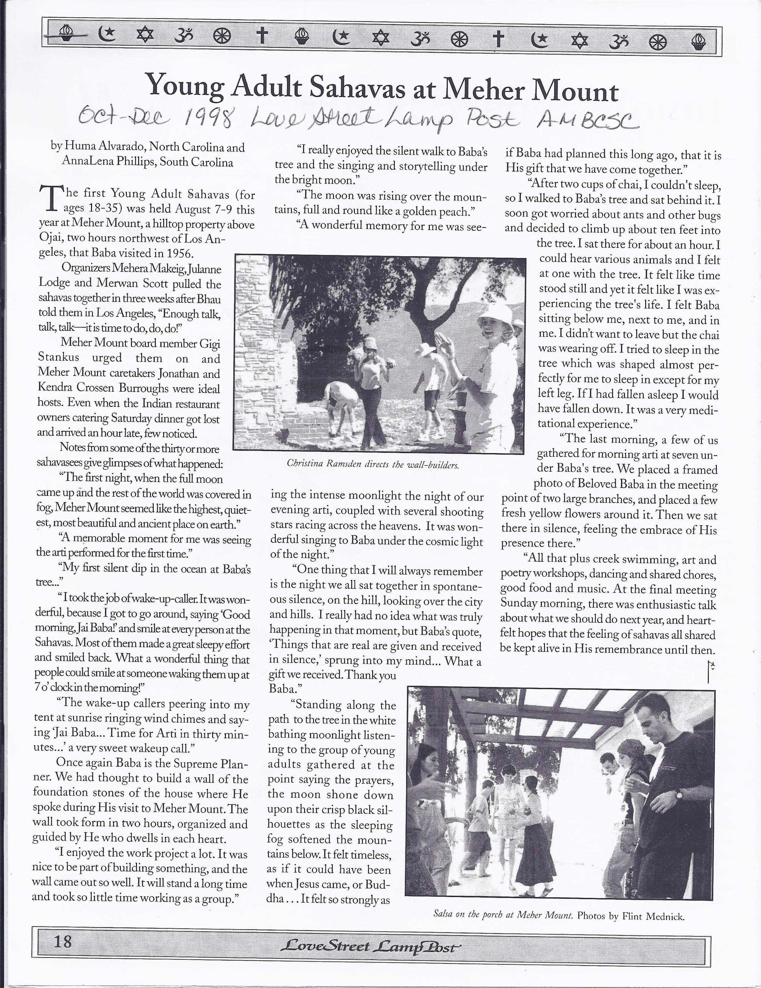 THE YOUNG ADULT SAHAVAS was August 7-9, 1998. Photos in the original article were taken by Flint Mednick and show some of the activities of the gathering.