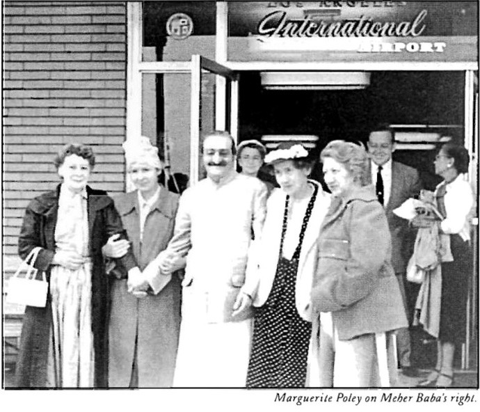 AVATAR MEHER BABA at the Los Angeles International Airport on July 31, 1956. Marguerite Poley is next to Meher Baba in the headscarf. To her right is Gladys Carr. On Meher Baba's left are Ruth White and Hilda Fuchs. (Photo:   Love Street Lamp Post  , 1st Quarter, 1988. Used with permission.)