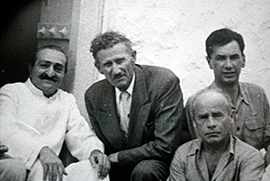 AVATAR MEHER BABA (left) with Frank Simon Hendrick, Francis Brabazon and Bill Le Page in 1954.