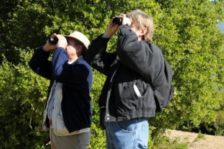 SAM ERVIN & ERIC TURK bird watching at Meher Mount. (Photo: Margaret Magnus, 2009)