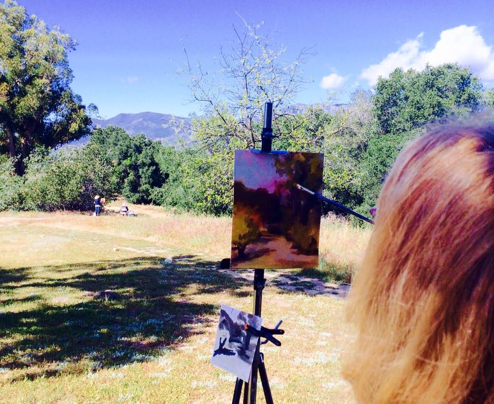 ARTISTS TAKE ADVANTAGE of the views at Meher Mount for inspiration. (Photo: Buzz Glasky, 2015)