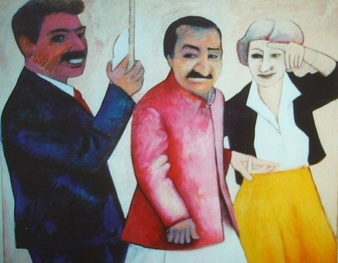 AVATAR MEHER BABA at Meher Mount with Eruch Jessawala and Agnes Baron. Painted in 2000 by Karl Gallagher (1943-2016). (c)2009