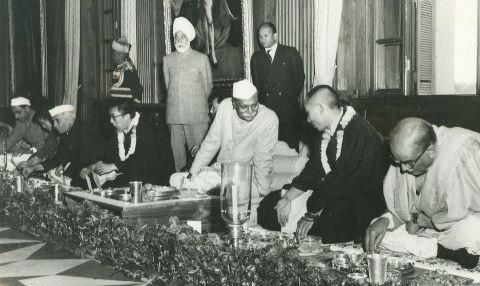 CELEBRATION of the 2500th Anniversary of the birth of Lord Buddha in New Delhi, India, in 1956. Included in the photograph are: India's first Prime Minister after its independence Jawaharlal Nehru (1889-1964); His Holiness the 14th Dalai Lama of Tibet (1935- ); India's first President after independence Rajendra Prasad (1884-1963); and the 10th Panchen Lama (1938-1989).