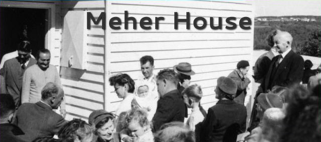 AVATAR MEHER BABA exiting Meher House in Sydney, Australia. Bill Le Page is standing to the right by the side of house.