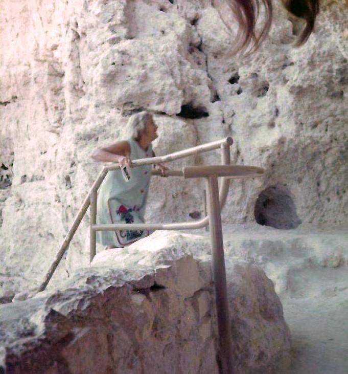 AGNES BARON in 1972 exploring Montezuma Castle National Monument in Arizona. (Photo: Martha Aubin)