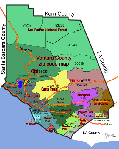 MAP of Ventura County, California showing the major cities. (Source:  Ventura County Ask Now Real Estate )