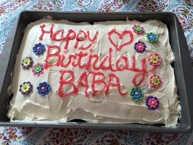 BIRTHDAY CAKE lovingly made by Manager/Caretaker Ginger Glasky for Avatar Meher Baba's birthday at the 2016 open house at Meher Mount. (Photo: Buzz Glasky)