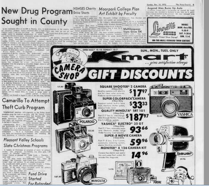 """NEWS ARTICLE, """"New Drug Program Sought in County,"""" from  The Press-Courier  (Oxnard, CA) on Sunday, December 10, 1972, about a drug program in Arizona of interest to Agnes Baron."""